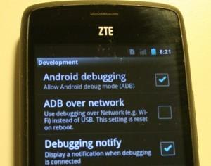 USB debug mode enabled in Android