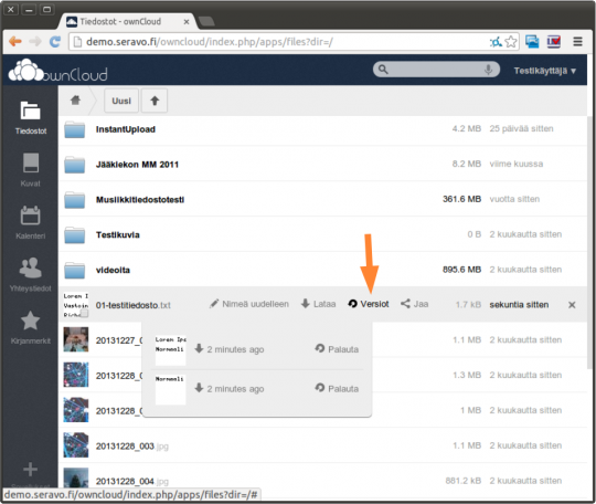 ownCloud browser interface