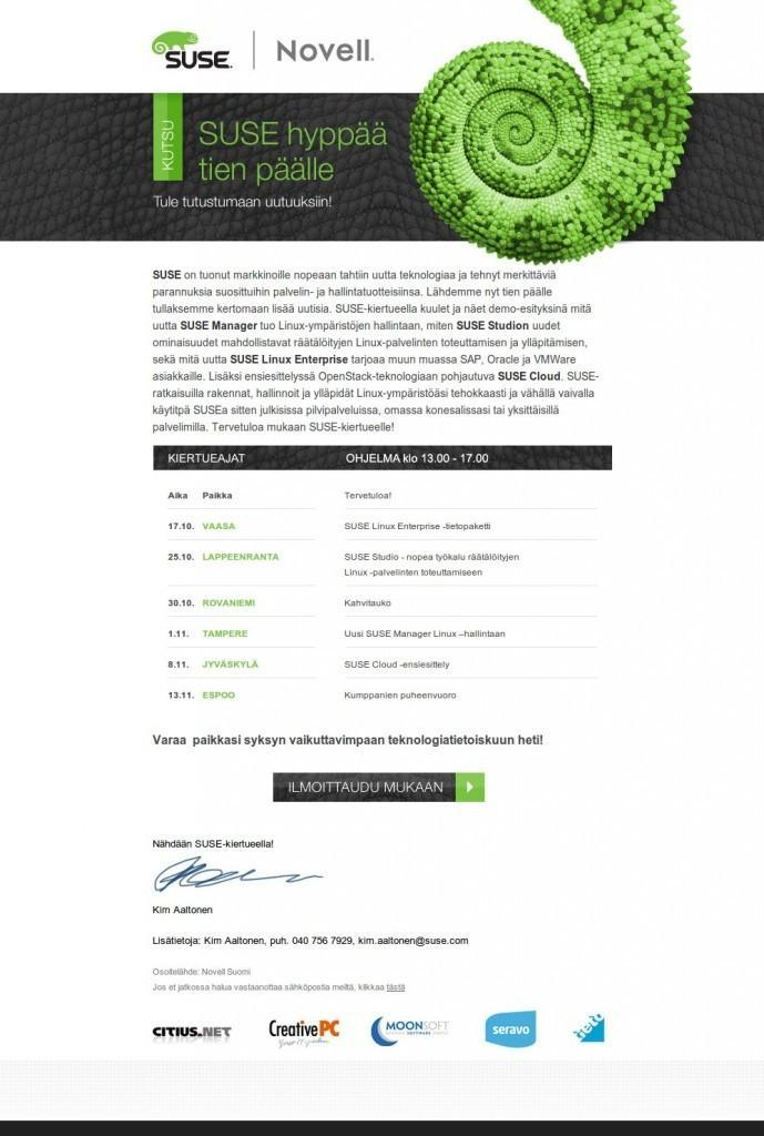 SUSE Roadshow 2012 invitation
